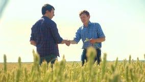 Viejo campo de trigo del hombre del apretón de manos del verano de dos granjeros que corre en el pan del trigo del campo vídeo de metrajes