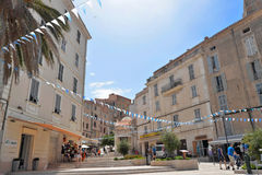 Viejo centro del towm de Bonifacio, Córcega Foto de archivo libre de regalías