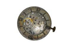 Viejo cierre del mecanismo del reloj encima de la imagen Imagen de archivo libre de regalías
