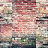 Viejo collage de la pared de ladrillo Imagenes de archivo