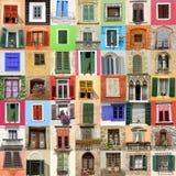 viejo collage de las ventanas Imagen de archivo
