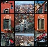 Viejo collage de Venecia - fotos del recorrido Imagen de archivo