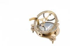 Viejo compás náutico del reloj de sol aislado Fotos de archivo libres de regalías