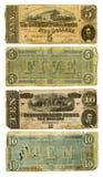 Viejo confederato cinco y diez cuentas de dólar Imágenes de archivo libres de regalías