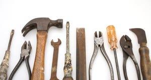 Viejo conjunto de herramienta aislado Imágenes de archivo libres de regalías