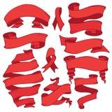 Viejo conjunto de la bandera de la cinta Dibujo de la mano retro Rojo Fotografía de archivo libre de regalías