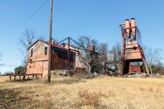 Viejo Crawford Mill en Walburg Tejas, escenario de película Imagenes de archivo
