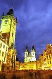 Viejo cuadrado de ciudad Praga imagenes de archivo