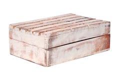 Viejo de madera de la textura del vintage del primer resistido envejeció el ataúd rectangular cerrado vacío de la caja aislado en fotos de archivo libres de regalías