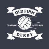 Viejo Derby Of Glasgow firme, Reino Unido, Escocia Diseño de Logo Label Emblem Tee Print del fútbol o del fútbol con viejo stock de ilustración