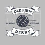 Viejo Derby Of Glasgow firme, Reino Unido, Escocia Diseño de Logo Label Emblem Tee Print del fútbol o del fútbol con viejo ilustración del vector