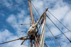 Viejo detalle de la nave de la vela del buque Fotos de archivo