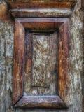 Viejo detalle de madera rectangular de la puerta Primer imagenes de archivo