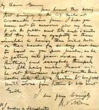 Viejo detalle del cursivo de la carta Imagen de archivo libre de regalías