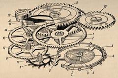 Viejo diagrama del mecanismo Imagen de archivo libre de regalías