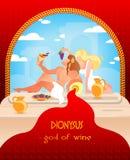 Viejo dios escrito de Dionysys de la mitología griega del vino libre illustration