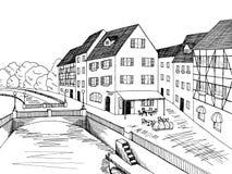 Viejo ejemplo del blanco del negro del arte gráfico de la casa de puente del río de la ciudad Fotografía de archivo libre de regalías
