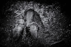 Viejo ejemplo judío abandonado de BW del cementerio libre illustration