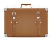 Viejo ejemplo retro del vector de la acción del icono del vintage de la maleta Fotografía de archivo libre de regalías