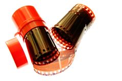 Viejo espiral de la raya de la película de 35 milímetros Imagenes de archivo