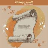 Viejo estilo del bosquejo de la voluta en fondo de la acuarela Imágenes de archivo libres de regalías
