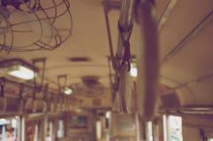 Viejo estilo del vintage del tren del interior de las barandillas Imágenes de archivo libres de regalías