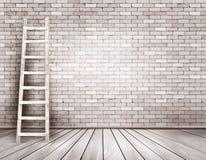 Viejo fondo blanco de la pared de ladrillo con la escalera de madera