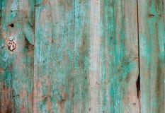 Viejo fondo de madera con la pintura ondulada verde Textura de madera del vintage imagen de archivo libre de regalías