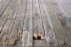 Viejo fondo de madera del Decking Imagenes de archivo