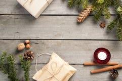 Viejo fondo de madera de la Navidad Fotos de archivo libres de regalías
