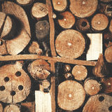 Viejo fondo de madera natural marrón, casa de abeja Foto de archivo