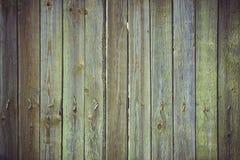 Viejo fondo de madera verde, rayas verticales y clavos doblados viejos Fotografía de archivo libre de regalías