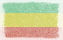 Viejo fondo de papel Bandera horizontal de Rastafarian, textura, ejemplo de la trama fotos de archivo libres de regalías
