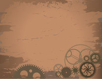 Viejo fondo de papel con los engranajes Foto de archivo libre de regalías