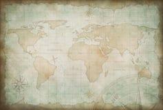 Viejo fondo del mapa de la exploración y de la aventura Fotografía de archivo libre de regalías