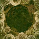 Viejo fondo del marco de las rosas Imagen de archivo libre de regalías