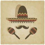 Viejo fondo del sombrero mexicano Imagen de archivo