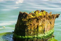 Viejo gancho pintoresco en la orilla del río foto de archivo
