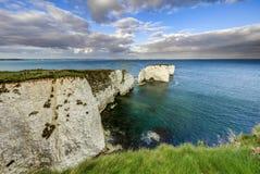 Viejo Harry Rocks, costa jurásica, Dorset imagen de archivo