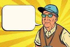 Viejo hombre alegre en una gorra de béisbol stock de ilustración