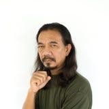 Viejo hombre asiático con el pelo largo Fotografía de archivo