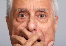 Viejo hombre asustado Fotografía de archivo libre de regalías