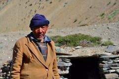 Viejo hombre beduino de Ladakh (la India) Imágenes de archivo libres de regalías