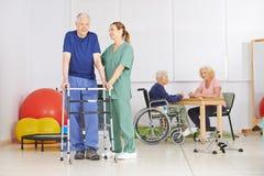 Viejo hombre con el caminante durante pyhsiotherapy Fotos de archivo