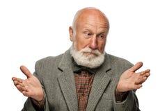 Viejo hombre con una barba grande y una sonrisa Foto de archivo