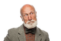 Viejo hombre con una barba grande y una sonrisa Imagen de archivo