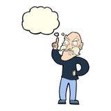 viejo hombre de la historieta que coloca reglas con la burbuja del pensamiento Fotos de archivo libres de regalías