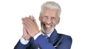 Viejo hombre de negocios de aplauso, aplaudiendo para el aprecio almacen de metraje de vídeo