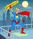 Viejo hombre del estilo del super héroe retro de los tebeos Imagen de archivo libre de regalías