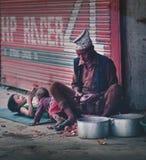 Viejo hombre del Nepali que pela las cebollas rojas al lado de dos de su Childr magnífico fotografía de archivo libre de regalías